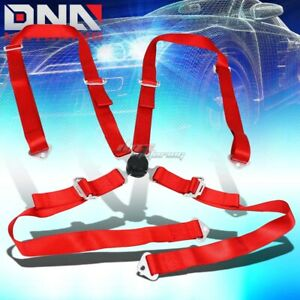 Universal 4 Point 2 Red Nylon Strap Harness Safety Camlock Racing Seat Belt