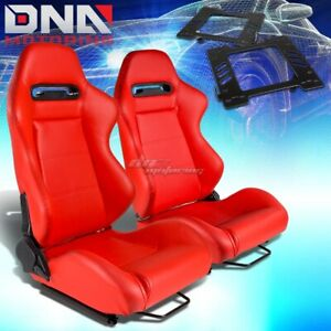For 99 04 Ford Mustang Sn 95 Bracket Type R Red Pvc Racing Seat Reclinable X2