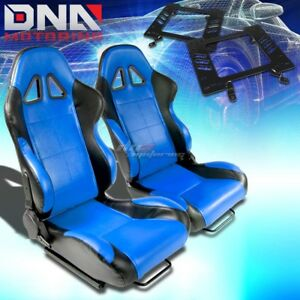 For 79 98 Ford Mustang Bracket t 5 Black Blue Woven Racing Seat Reclinable X2