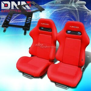For 82 92 Trans Am 3g Bracket Nrg Type R Red Cloth Racing Seat Reclinable X2