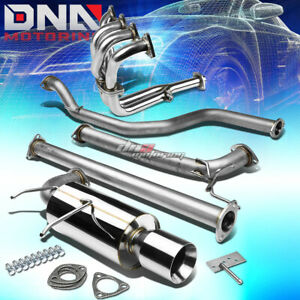 4 Rolled Tip Racing Catback Header Manifold Exhaust System For 90 91 Integra Db