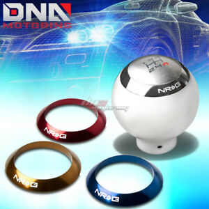 Nrg Anodized Ball Round Sphere Style 5 6 Speed Gear Shifter Shift Knob White