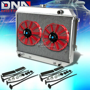 68 73 Plymouth Satellite gtx V8 3 row Full Aluminum Racing Radiator x2 Red Fan