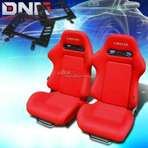 For 79 98 Ford Mustang Bracket Nrg Type R Red Cloth Racing Seat Reclinable X2