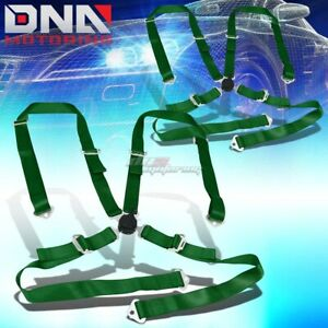 Pair Universal 4 point 2 Green Nylon Strap Harness Safety Camlock Seat Belt