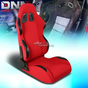 Fully Reclinable Red Canvas Woven Bucket Racing Seat Slider Passenger Right Side