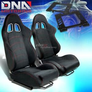 For 99 04 Mustang Sn 95 Bracket type 1 Black Suede Racing Seat Reclinable X2