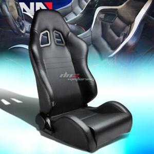Pvc Leather Carbon Fiber Look Fully Reclinable Racing Seat seats sliders Right