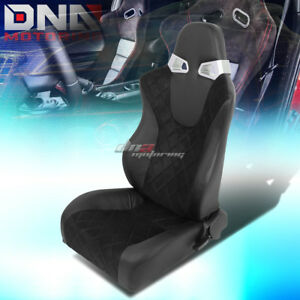 1 X Square Pattern Black Sports Racing Seats Mounting Slider Rails Left Only