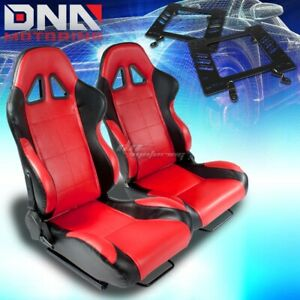 For 79 98 Mustang 3g Bracket type 5 Black Red Woven Racing Seat Reclinable X2