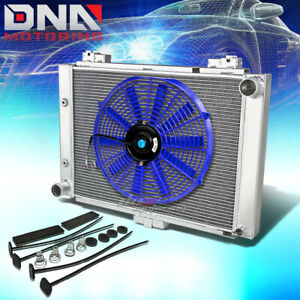 For 1964 Ford Galaxie 500 3 row Tri Core Aluminum Racing Radiator 16 blue Fan