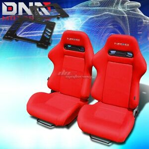For 99 04 Mustang Sn 95 Bracket Nrg Type R Red Cloth Racing Seat Reclinable X2