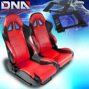 For 99 04 Mustang Sn 95 Bracket type 5 Black Red Woven Racing Seat Reclinable X2
