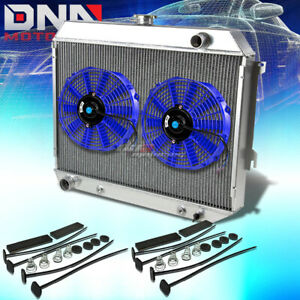 68 73 Plymouth Satellite Gtx V8 3 Row Full Aluminum Racing Radiator X2 Blue Fan