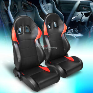 Pair Of Full Reclinable Red Glossy Pvc Leather Sporty Bucket Race Racing Seat