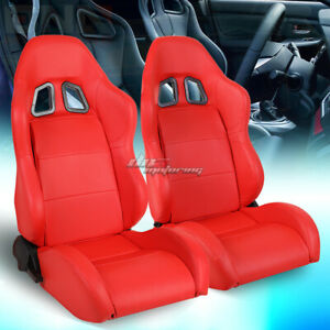 Pair Of Full Reclinable Red Xl 06 Pvc Leather Sporty Bucket Race Racing Seat