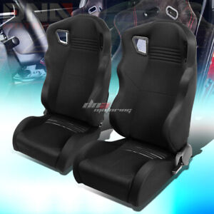 Full Reclinable Black Woven Wide Head Rest Bucket Racing Seat Driver passenger