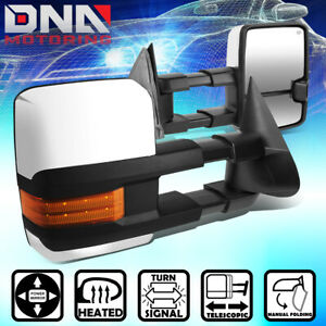For 99 02 Silverado Power Heat Chrome Towing Side Telescoping Mirror Led Signal