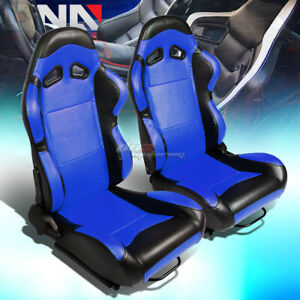 Blue Center black Trim Reclinable Pvc Leather Racing Seats W universal Sliders