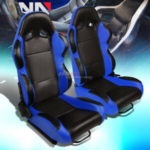 Black Center blue Reclinable Pvc Leather Type r Racing Seats W universal Sliders