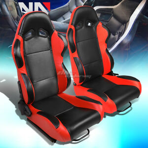 Black Center red Reclinable Pvc Leather Type r Racing Seats W universal Sliders