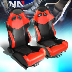 Black Red Reclinable Pvc Leather Arrow Design Racing Seats W Universal Sliders