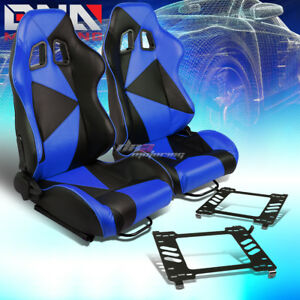 Pair Black blue Pvc Triangle Pattern Racing Seat bracket Fit 05 14 Ford Mustang
