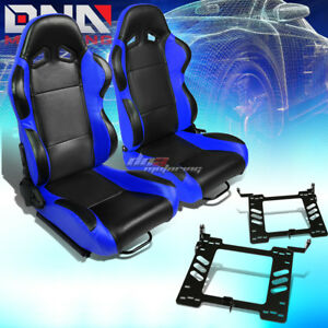 Pair Of Black Pvc Blue Trim Racing Seat Bracket Fit 93 98 Vw Golf Jetta Beatle