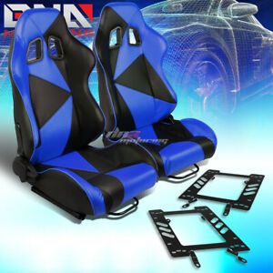 Pair Black blue Pvc Triangle Pattern Racing Seat bracket Fit 79 98 Ford Mustang