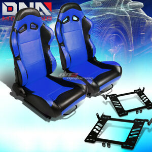 Pair Black Pvc Blue Center Racing Seat Bracket Fit 99 05 Vw Golf Jetta Beatle