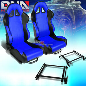 Black Blue Pvc Reclinable Square Stitch Racing Seat Bracket Fit 02 06 Acura Rsx