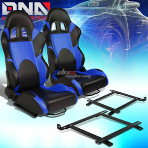 Black blue Pvc Fully Reclinable Racing Seat low Mount Bracket Fit 99 04 Mustang
