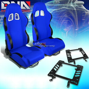 2x Black Blue Cloth Reclinable Sport Racing Seat Bracket Fit 79 98 Ford Mustang