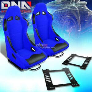 Pair Black Blue Cloth Bucket Type R Racing Seat Bracket Fit 92 99 Bmw 3 Series