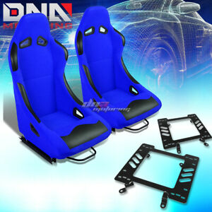 Pair Black blue Cloth Bucket Type r Racing Seat bracket Fit 79 98 Ford Mustang