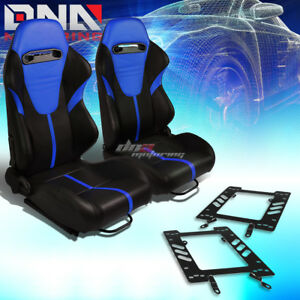2x Black Pvc Reclinable Blue Headrest Racing Seat bracket Fit 79 98 Ford Mustang