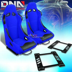 Black Blue Cloth Bucket Type R Racing Seat Bracket Fit 78 88 Chevy Monte Carlo
