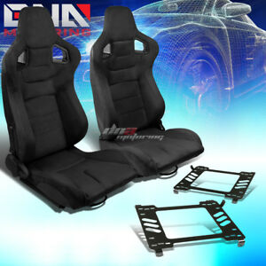 2x Black Suede Rear Carbon Fiber Look Racing Seat bracket Fit 05 14 Ford Mustang