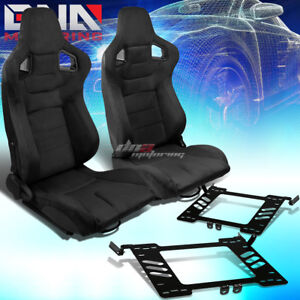 Black Suede Carbon Fiber Look Racing Seat Bracket Fit 99 05 Vw Golf Jetta Beatle
