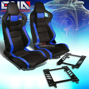 2x Black blue Pvc Reclinable Hi head Racing Seat bracket Fit 99 04 Ford Mustang