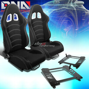 Black Cloth Reclinable White Dual Stitch Racing Seat bracket Fit 13 16 Brz frs