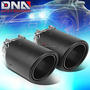 Pair 2 5 Inlet 3 5 Slant Outlet Carbon Fiber Pattern Racing Muffler Exhaust Tip