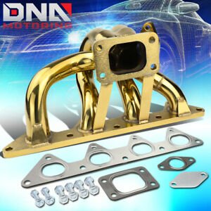 For 92 96 Honda Prelude H23 Engine Gold T3 Turbo Exhaust Manifold 38mm Wg Port