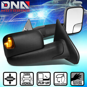 For 2002 2009 Dodge Ram Pair Black Manual Side Tow Mirrors Led Amber Turn Signal
