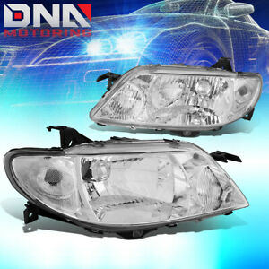 For 01 03 Mazda Protege 323 Chrome Housing Clear Side Headlight Lamp Replacement