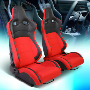 Pair Lh Rh Black Red Fabric Full Reclinable Sport Racing Seats Universal Slider