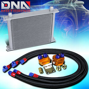30 Row 10an Silver Aluminum Engine Transmission Oil Cooler Black Relocation Kit