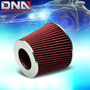 3 Short Ram cold Air Intake Round Mesh Tapered Gauze Red Rubber Filter clamp