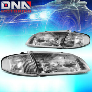 For 1998 1999 Mazda 626 Chrome Housing Headlight W clear Corner Lamp Replacement