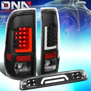 Fit 99 07 Ford Super Duty Led L Bar Tail Light 3d Third Brake Cargo Lamp Black